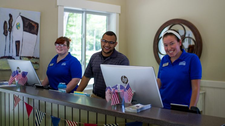 staff at welcome center desk