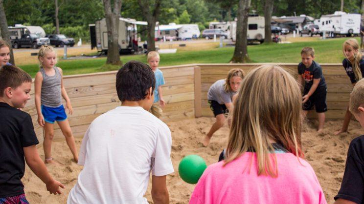 kids playing ga-ga ball