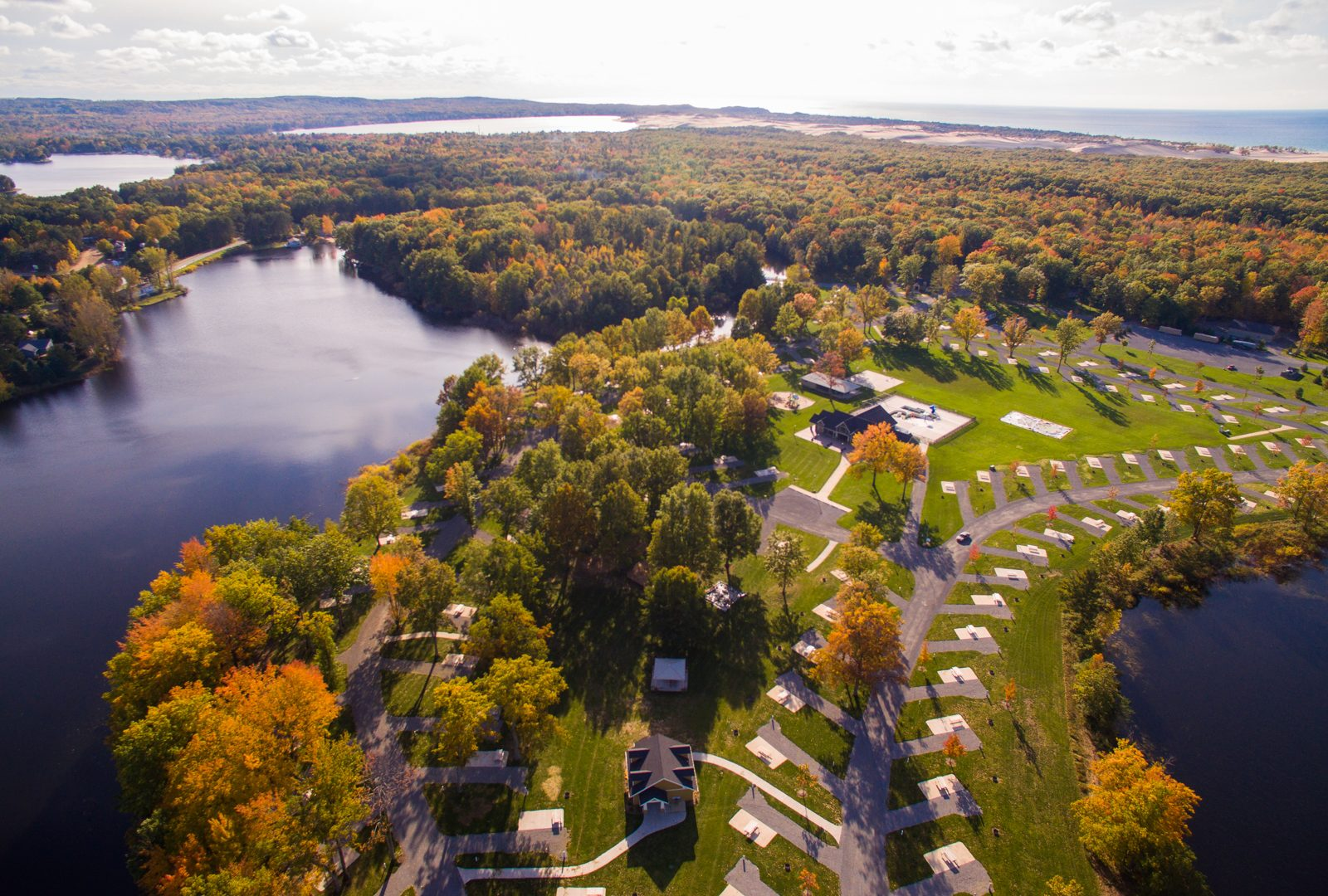 ariel photo of campground in the fall